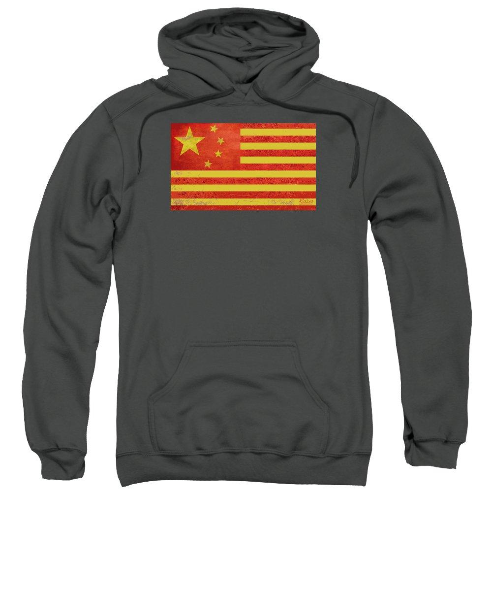 China Flag Sweatshirt featuring the painting Chinese American Flag by Tony Rubino