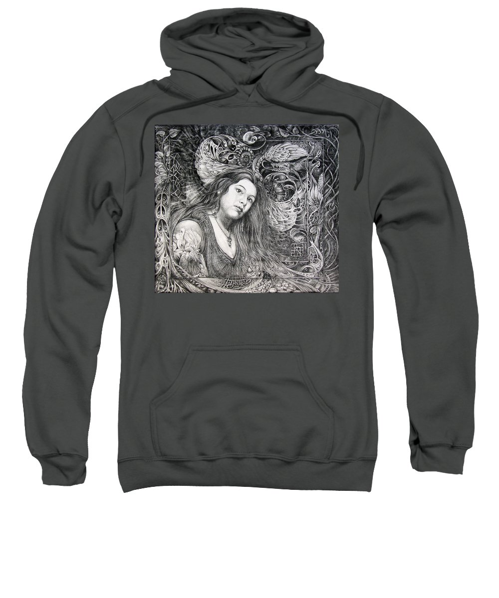 Portrait Sweatshirt featuring the drawing Christan Portrait by Otto Rapp
