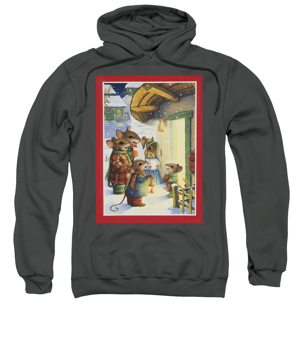A Small Group Of Mice Singing Christmas Carols To A Little Mouse In His Footie Pajamas. Sweatshirt featuring the painting Christmas Carols by Lynn Bywaters