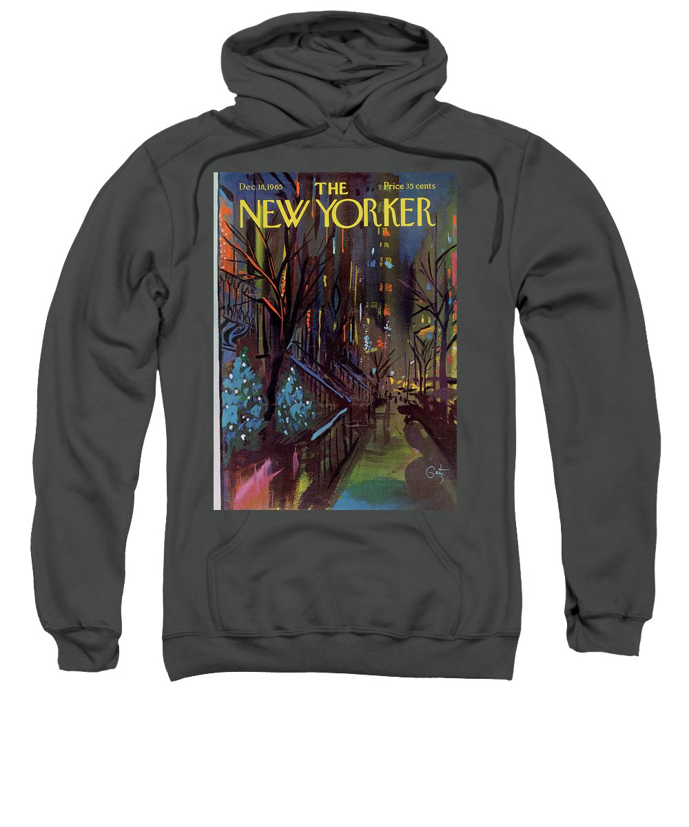 Christmas Sweatshirt featuring the painting Christmas In New York by Arthur Getz
