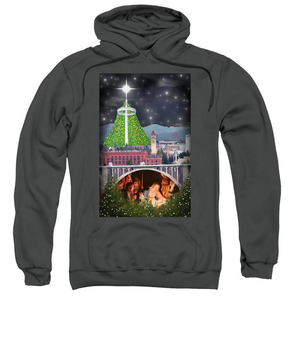 Christmas Sweatshirt featuring the digital art Christmas In Spokane by Mark Armstrong