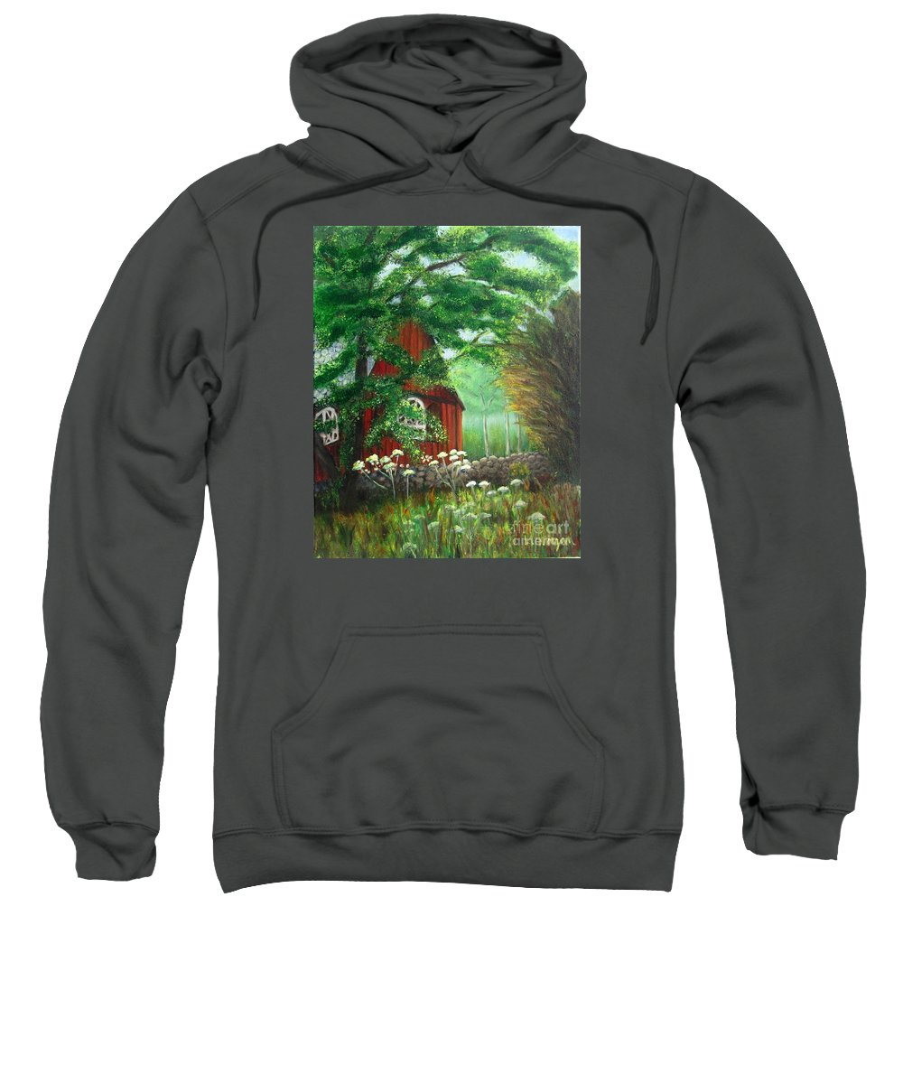 Church Sweatshirt featuring the painting Church In The Glen by Laurie Morgan