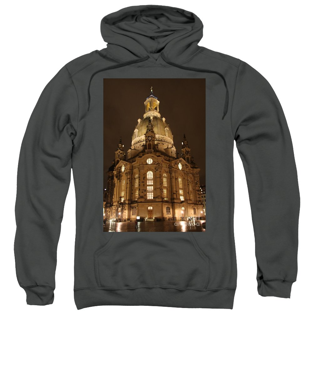 Church Sweatshirt featuring the photograph Church Of Our Lady At Night - Dresden - Germany by Christiane Schulze Art And Photography