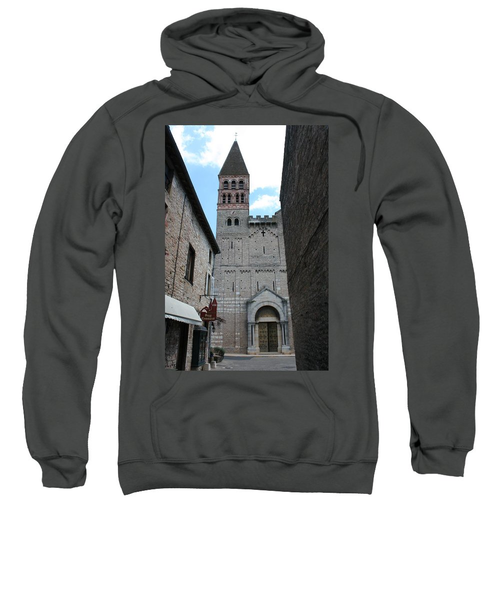 Alley Sweatshirt featuring the photograph Church St. Philibert - Tournus by Christiane Schulze Art And Photography