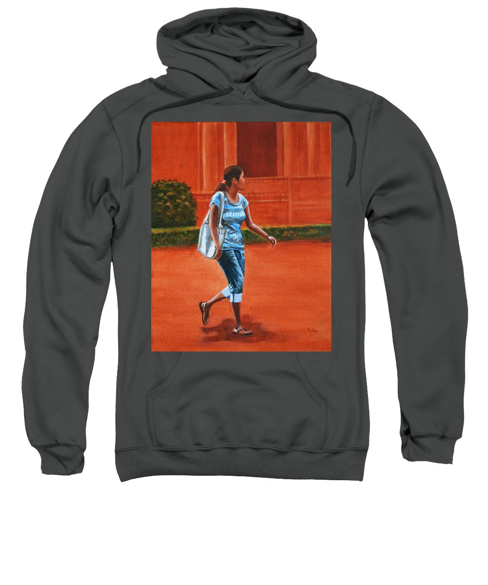 City Sweatshirt featuring the painting City Girl by Usha Shantharam