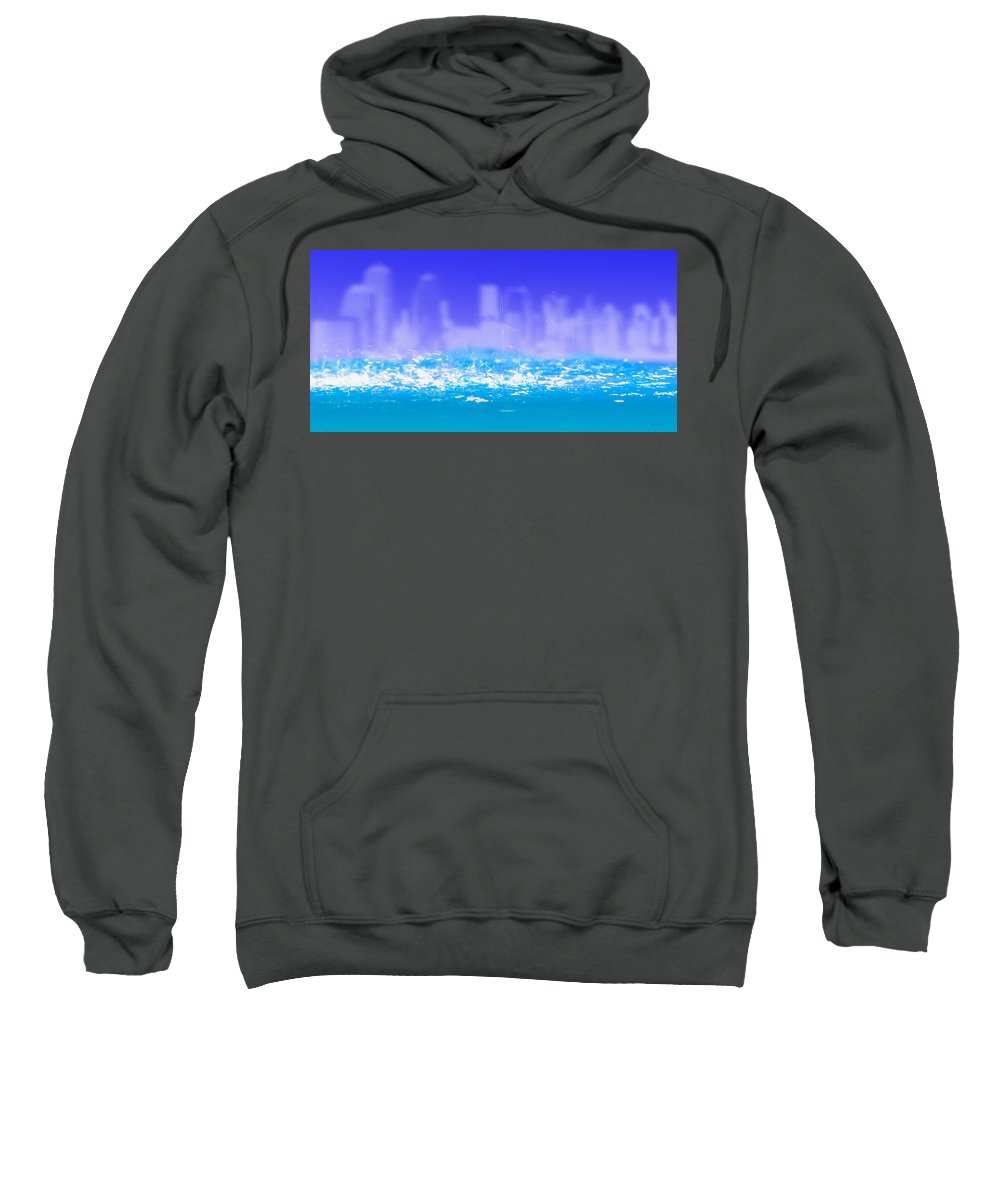 Architecture Sweatshirt featuring the painting City Rain by Bob Orsillo