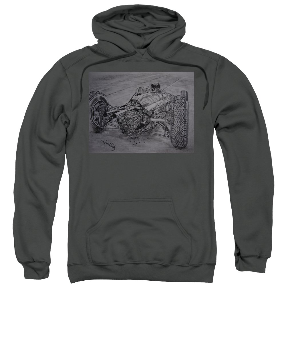 Jim Clark Sweatshirt featuring the drawing Clark And The Lotus 25 by Juan Mendez