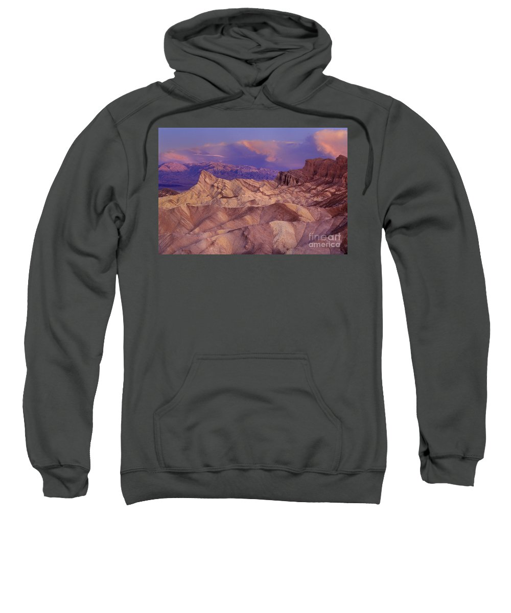 California Sweatshirt featuring the photograph Clearing Sunrise Storm Zabriske Point Death Valley National Park California by Dave Welling
