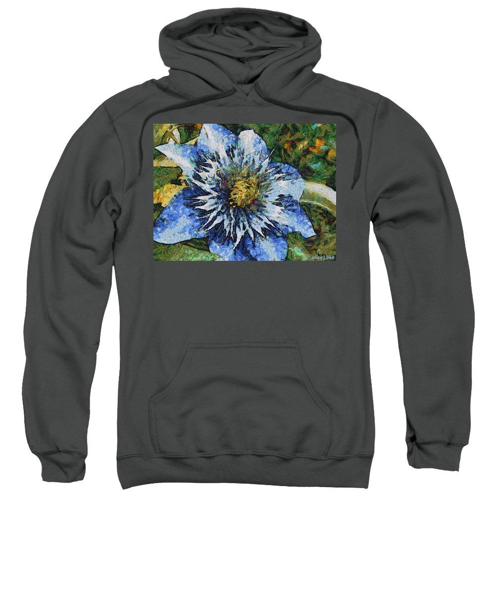 Bloom Sweatshirt featuring the painting Clematis by Jeffrey Kolker