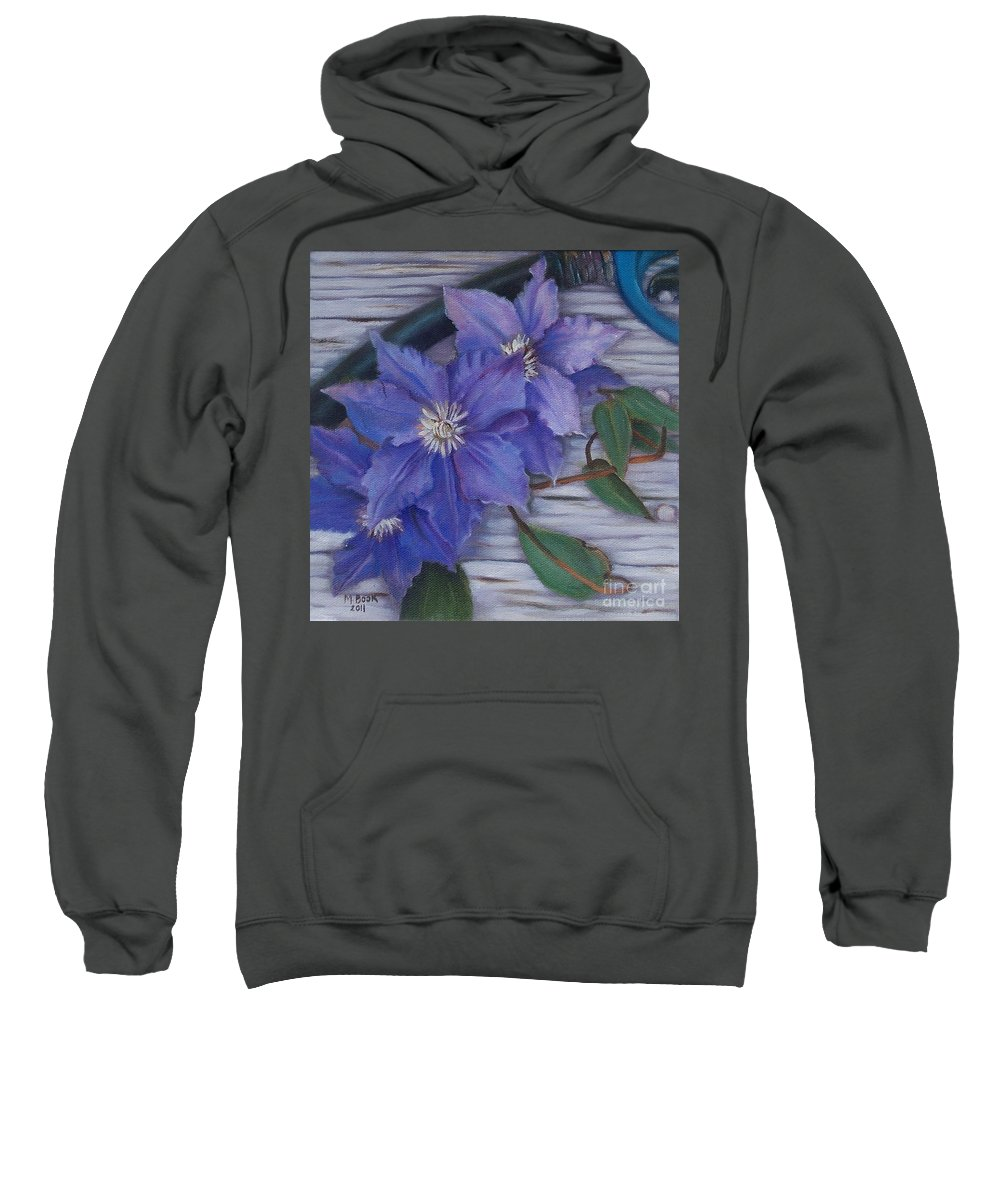 Still Life Sweatshirt featuring the painting Clematis by Marlene Book