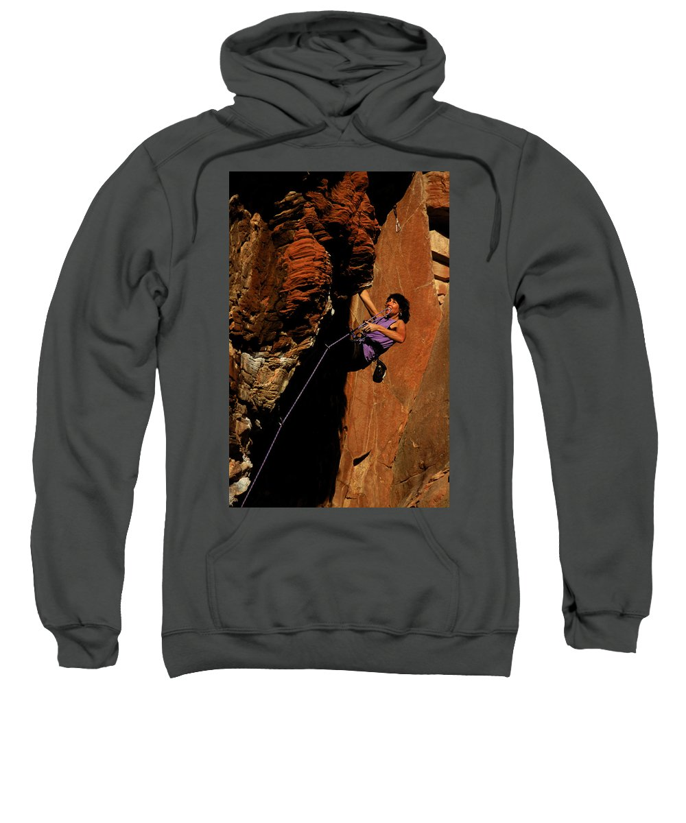 Achievement Sweatshirt featuring the photograph Climber, Red Rocks, Nv by Beth Wald