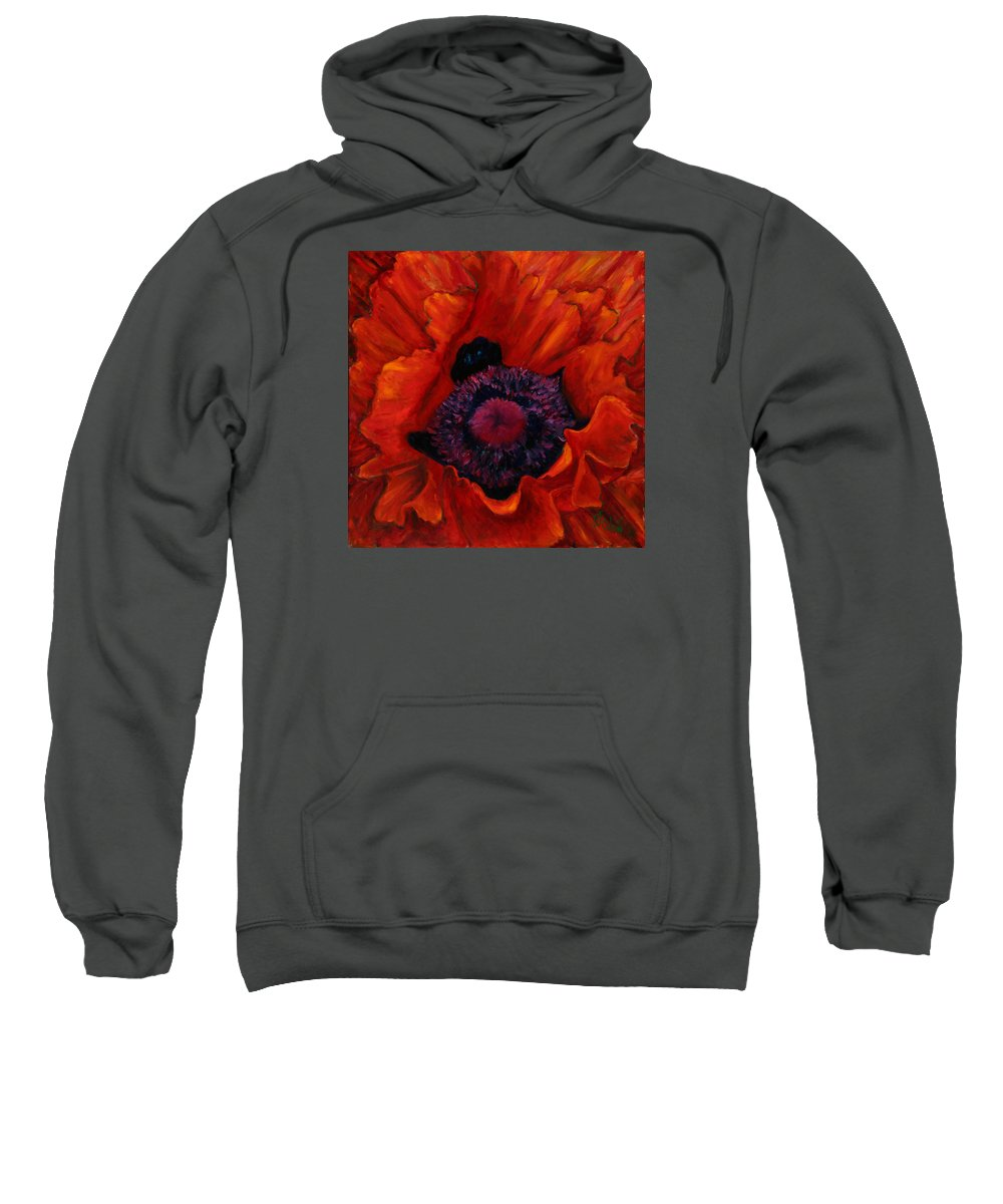 Red Poppy Sweatshirt featuring the painting Close Up Poppy by Billie Colson