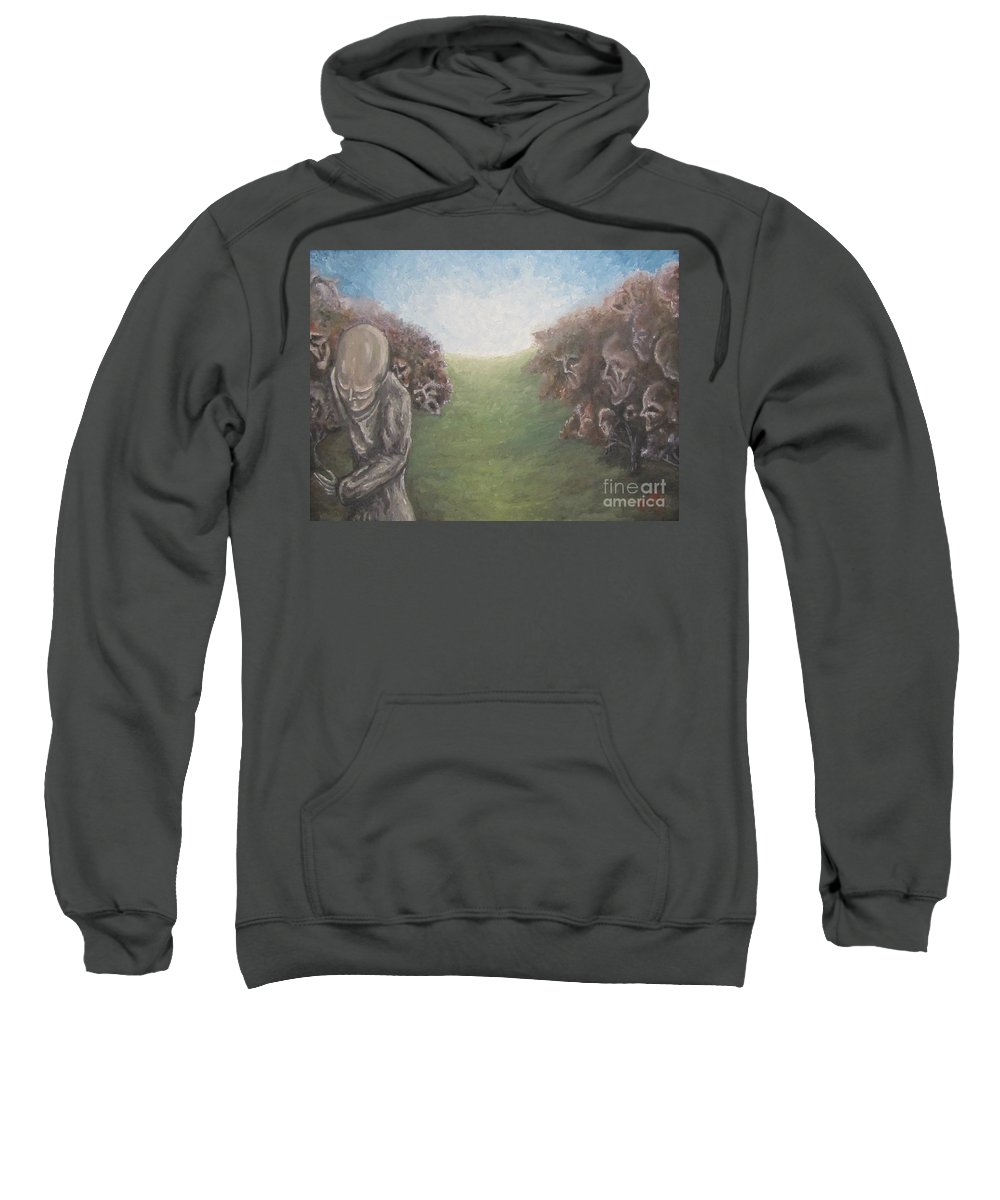 Tmad Sweatshirt featuring the painting Closure by Michael TMAD Finney