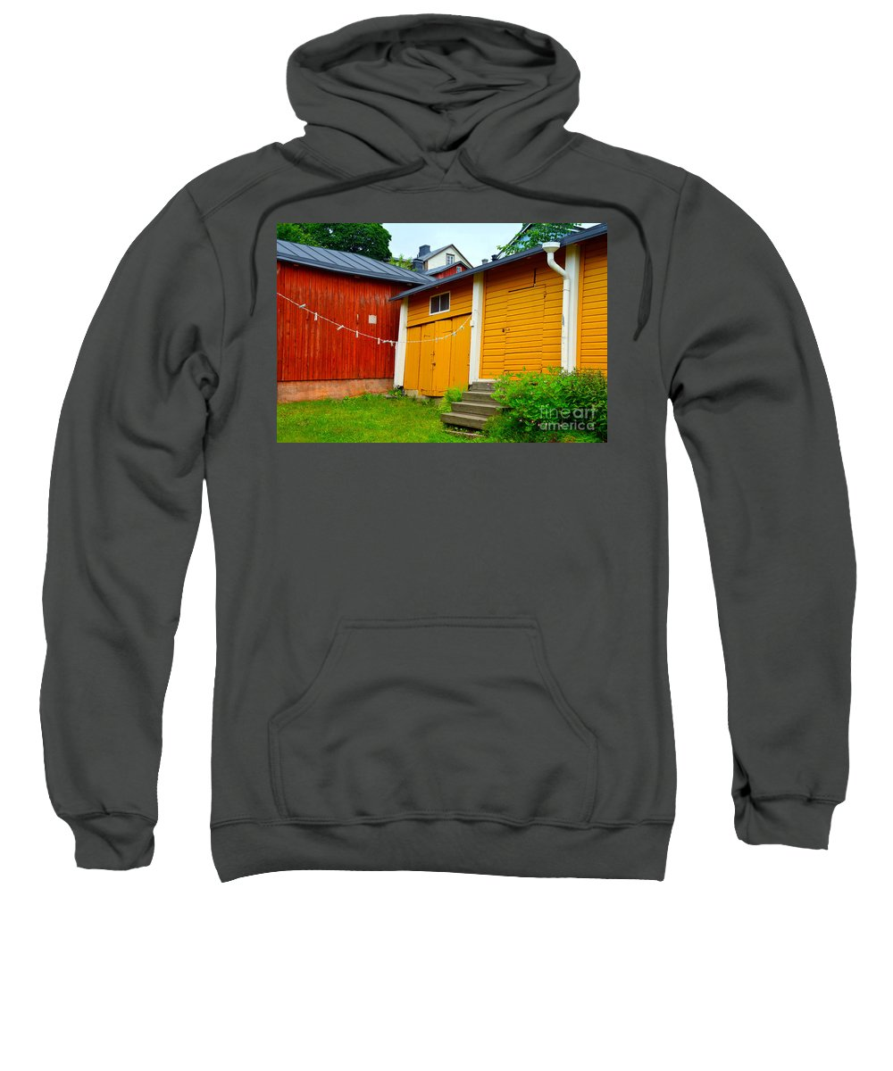 Porvoo Sweatshirt featuring the photograph Clothesline In Porvoo In Finland by Catherine Sherman