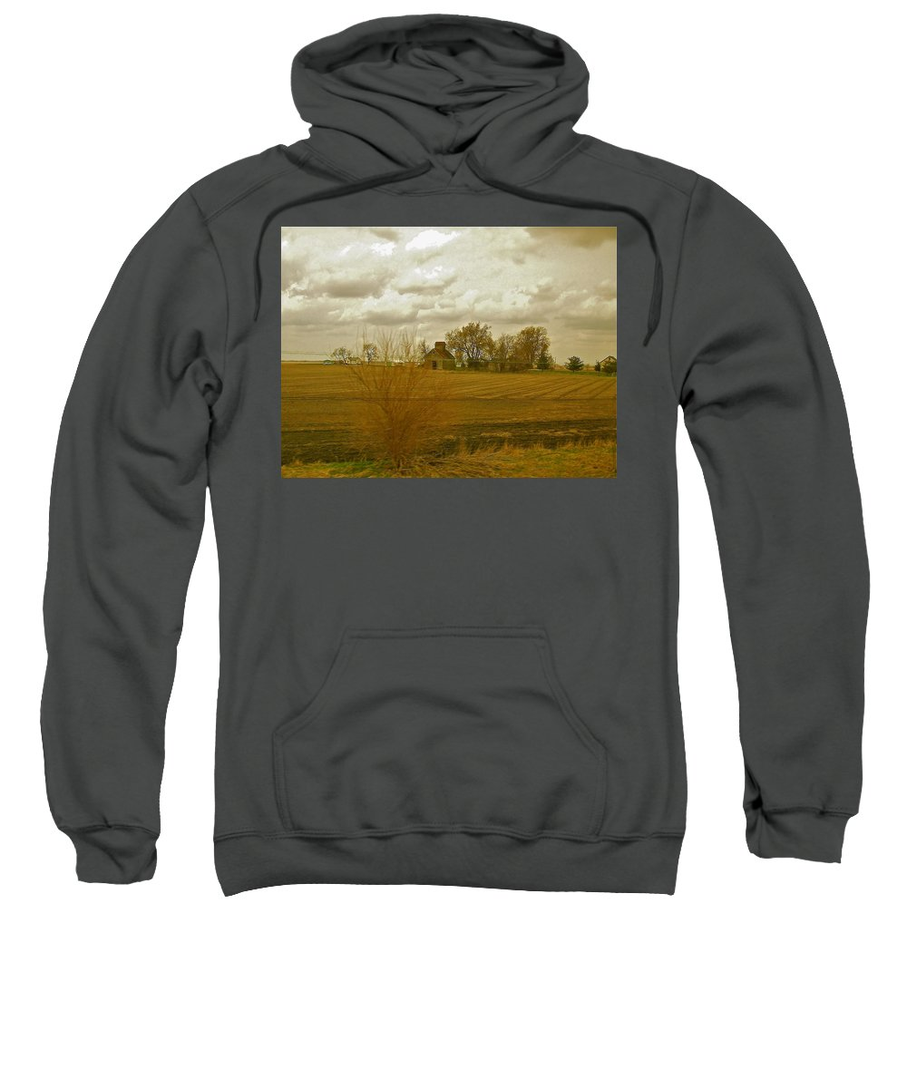 Clouds Sweatshirt featuring the photograph Clouds Over An Illinois Farm by Susan Wyman