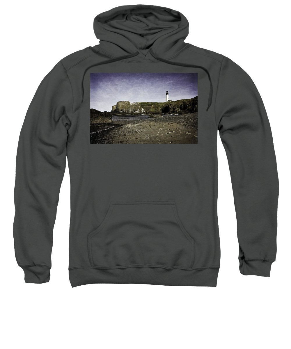 Newport Sweatshirt featuring the photograph Cobble Beach At Yaquina Lighthouse by Image Takers Photography LLC - Laura Morgan
