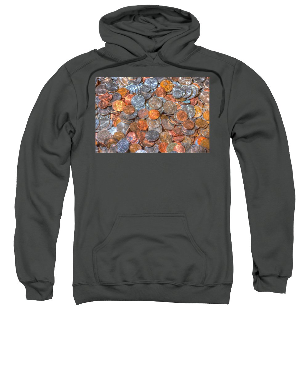 Background Sweatshirt featuring the photograph Coins by John Trax