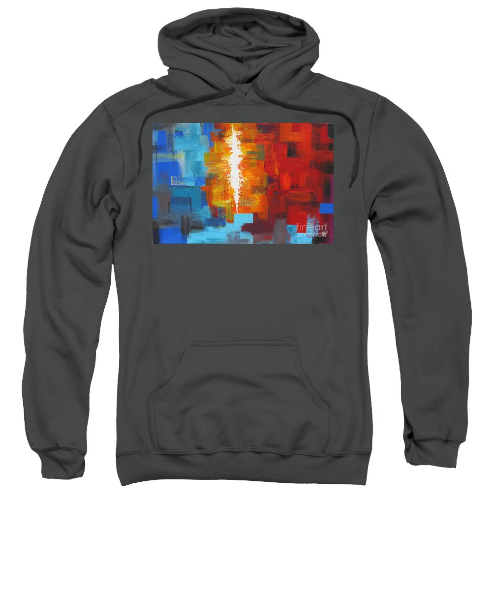 Colorful Sweatshirt featuring the painting Color Deluge by Aarti Bartake