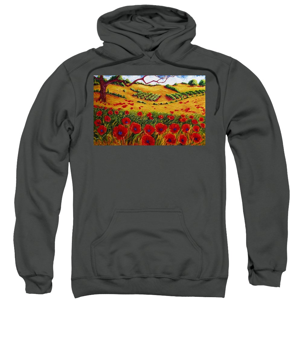 Poppies And Vineyards And Oak Trees Red And Hillside Farms And Vines And Butterfly Creek Winery In The Napa Valley California. Sweatshirt featuring the painting Color In The Vineyards by Lisa V Maus