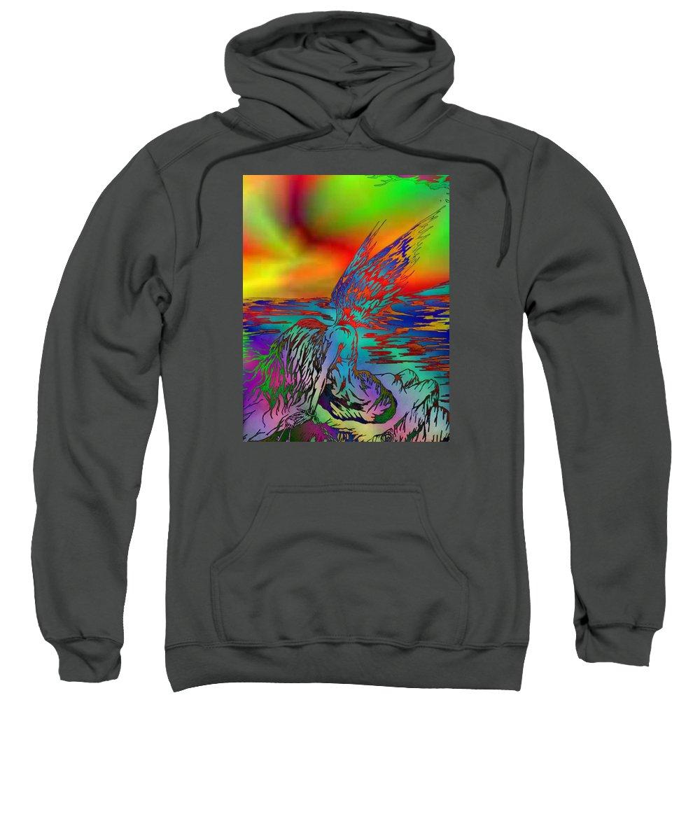 Color Sweatshirt featuring the digital art Color Tempest Angel On Rocks by Daniel Lamb