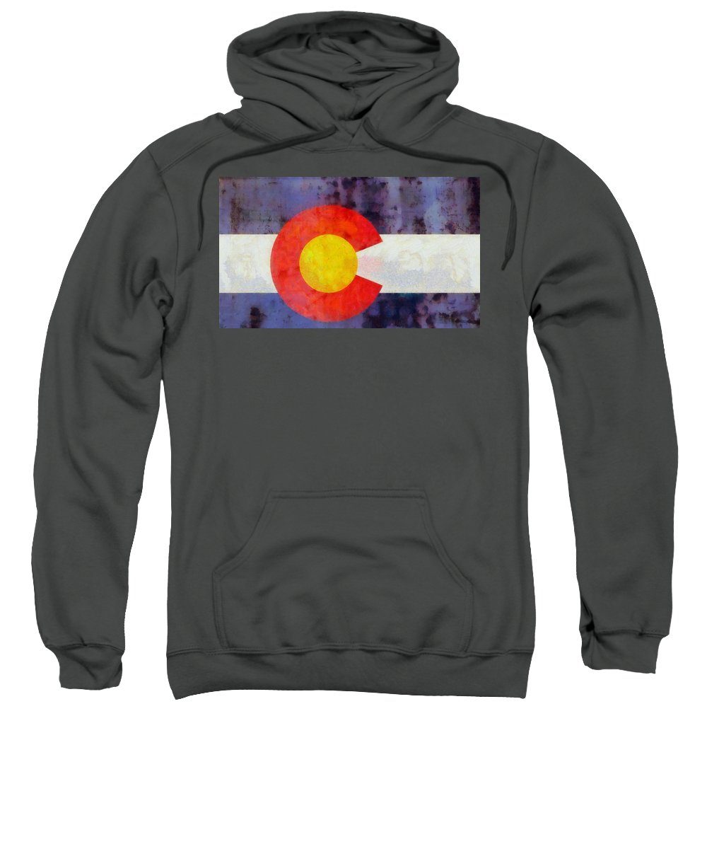 Colorado State Flag Weathered And Worn Sweatshirt featuring the painting Colorado State Flag Weathered And Worn by Dan Sproul