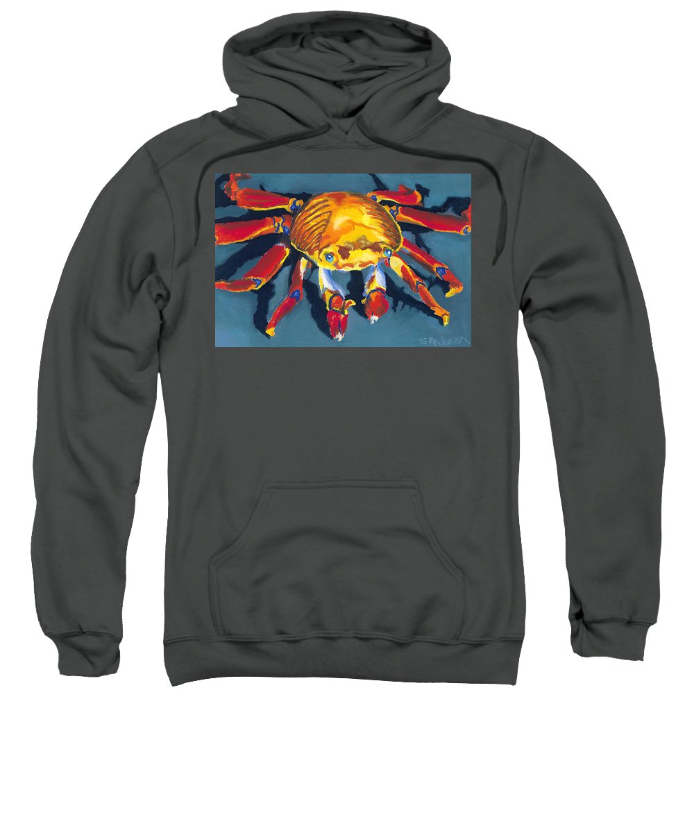 Crab Sweatshirt featuring the painting Colorful Crab by Stephen Anderson