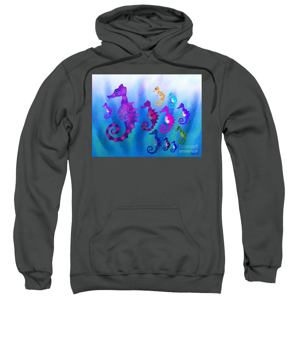 Sea Horses Sweatshirt featuring the digital art Colorful Sea Horses by Nick Gustafson