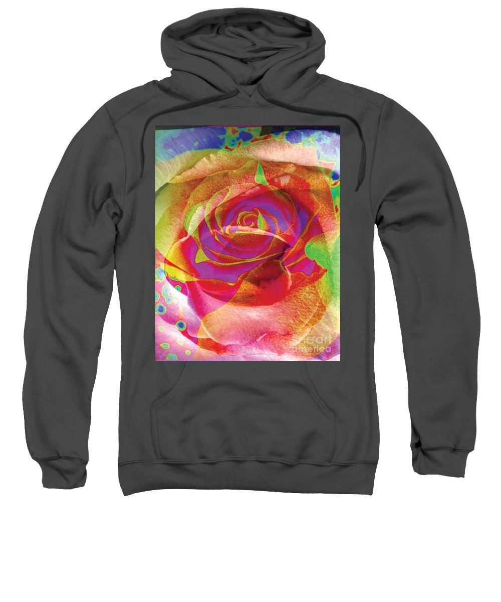Rose Flower Sweatshirt featuring the digital art Colorfull Rose by Yael VanGruber