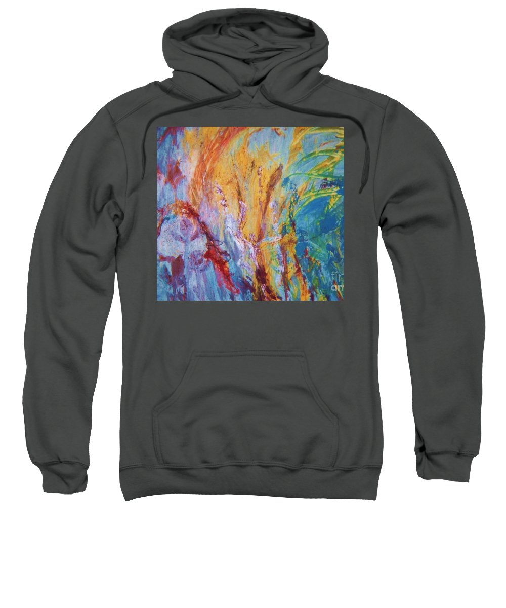 Colourful Abstract.under Water Abstract Sweatshirt featuring the painting Colourful Abstract by Ann Fellows