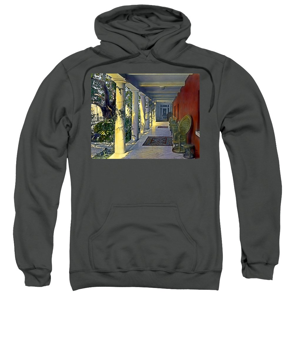 Tranquil Sweatshirt featuring the painting Columns And Chairs by Terry Reynoldson