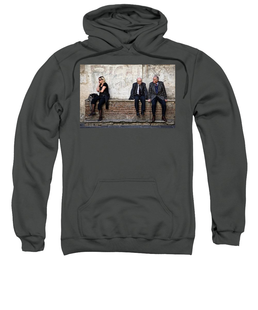 Street Photography Sweatshirt featuring the photograph Communication by Dave Bowman