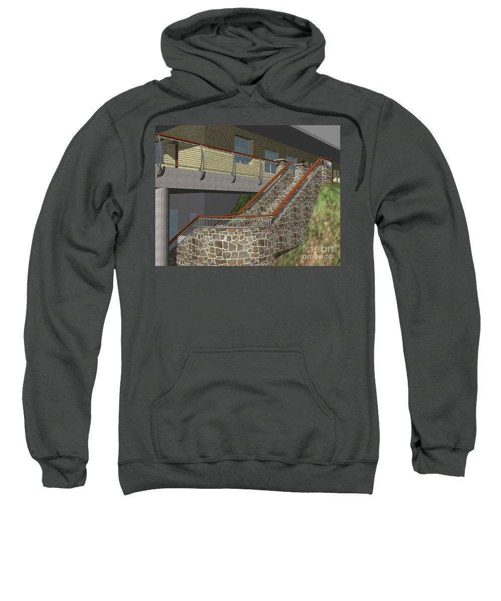 Sweatshirt featuring the digital art Concept Railing by Peter Piatt