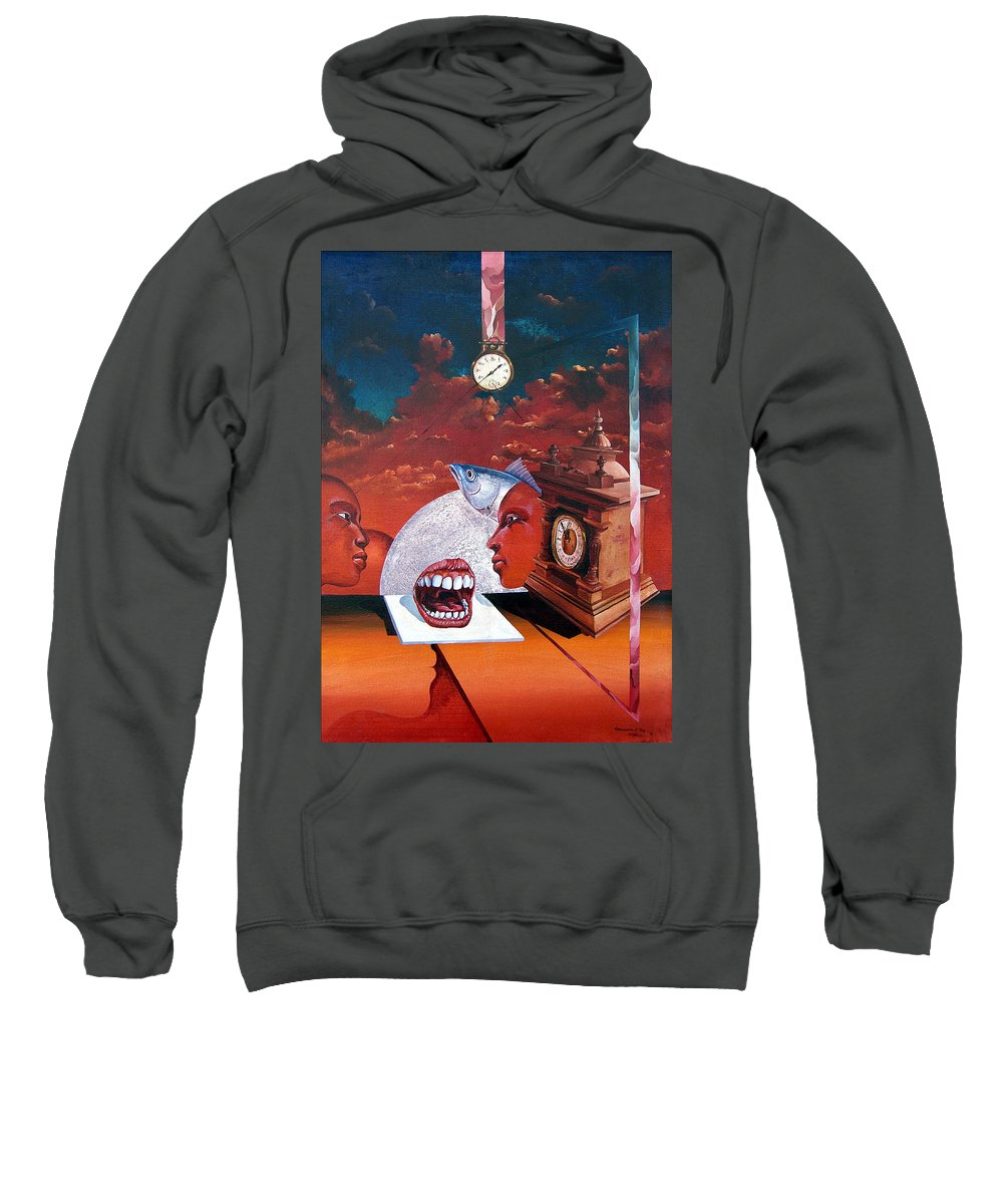 Otto+rapp Surrealism Surreal Fantasy Time Clocks Watch Consumption Sweatshirt featuring the painting Consumption Of Time by Otto Rapp