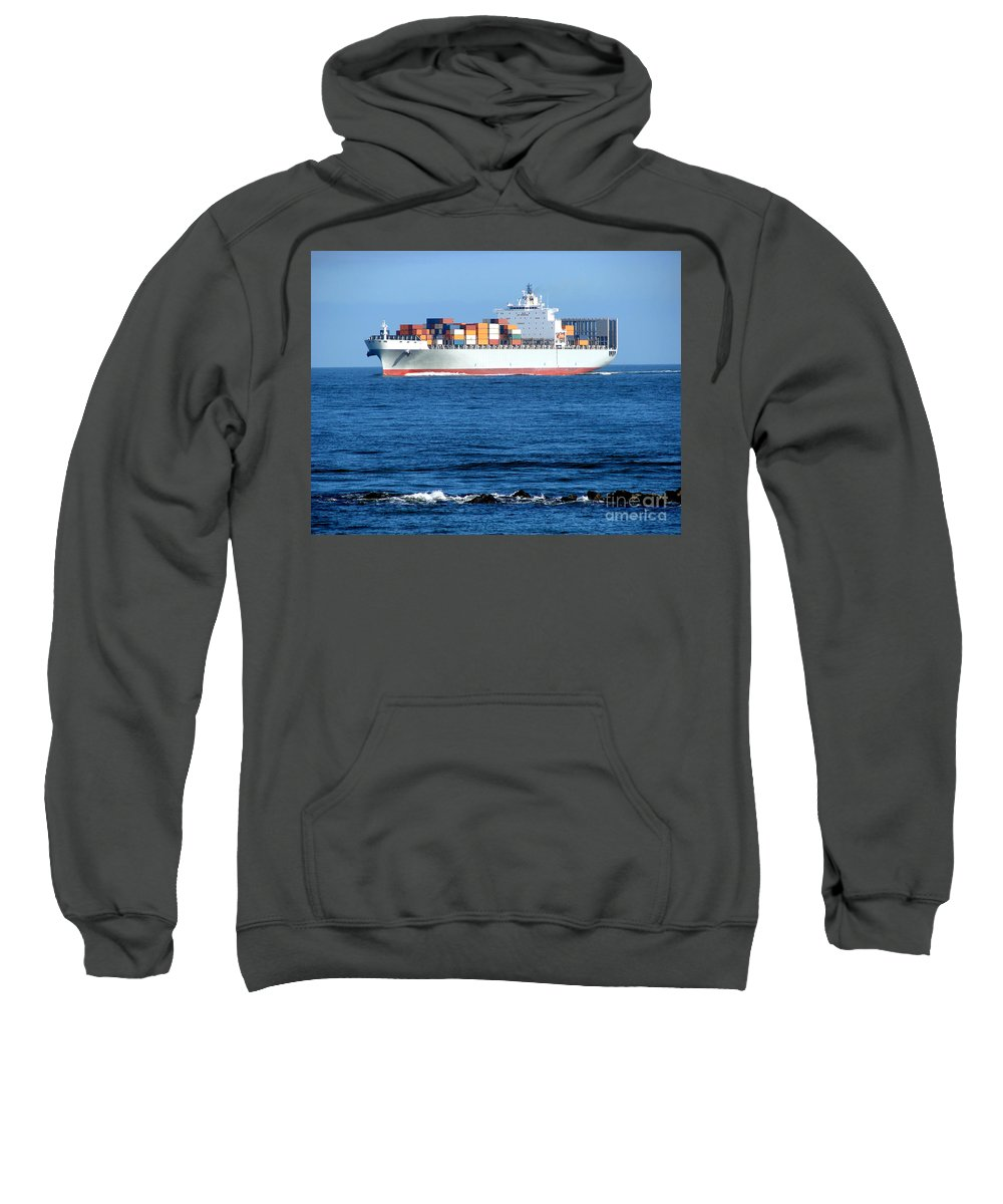 Ship Sweatshirt featuring the photograph Container Ship by Olivier Le Queinec