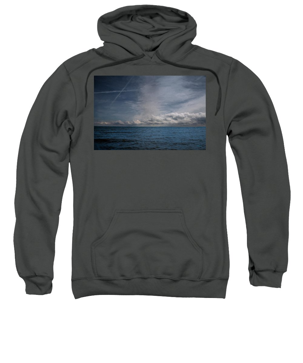 Landscape Sweatshirt featuring the photograph Contrails And Rainclouds Over Lake Michigan by John M Bailey