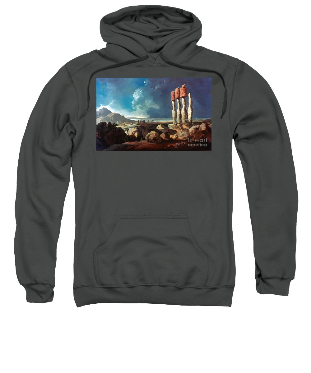 1774 Sweatshirt featuring the photograph Cook: Easter Island, 1774 by Granger