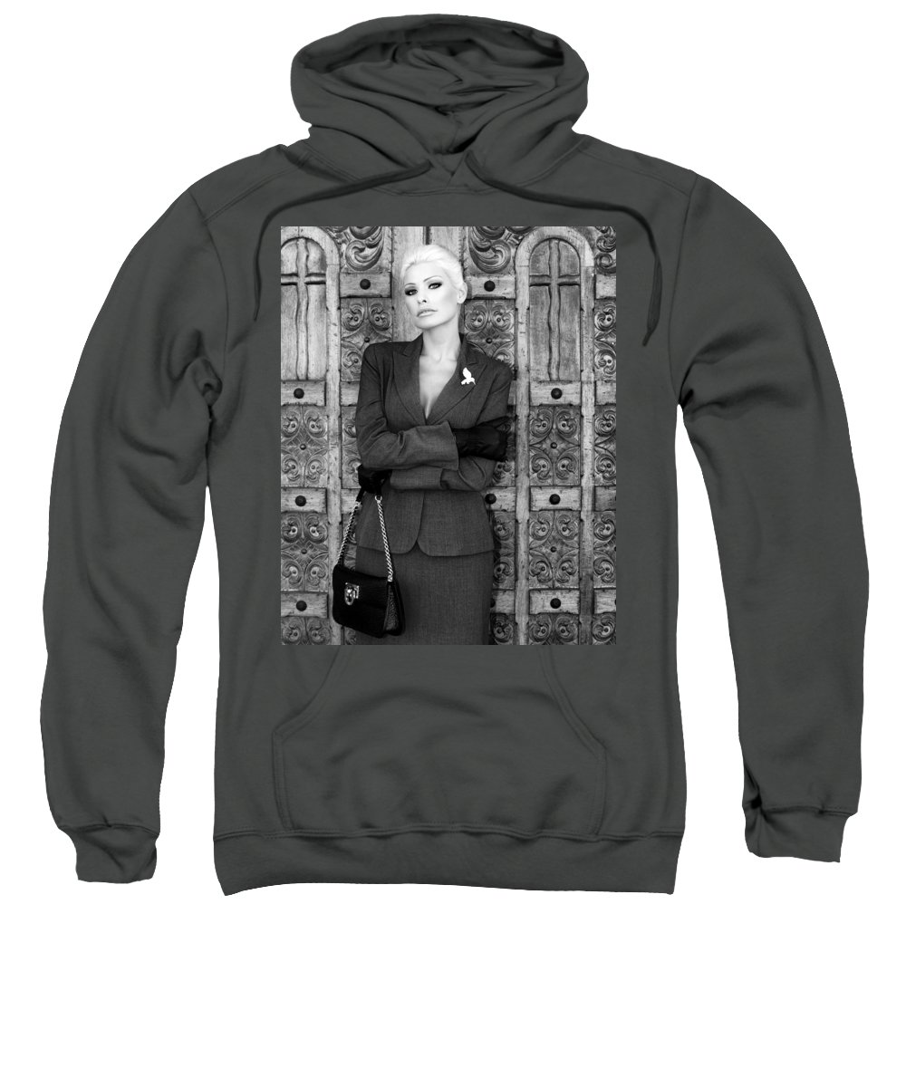 Blonde Sweatshirt featuring the photograph Cool Blonde Bw Palm Springs by William Dey