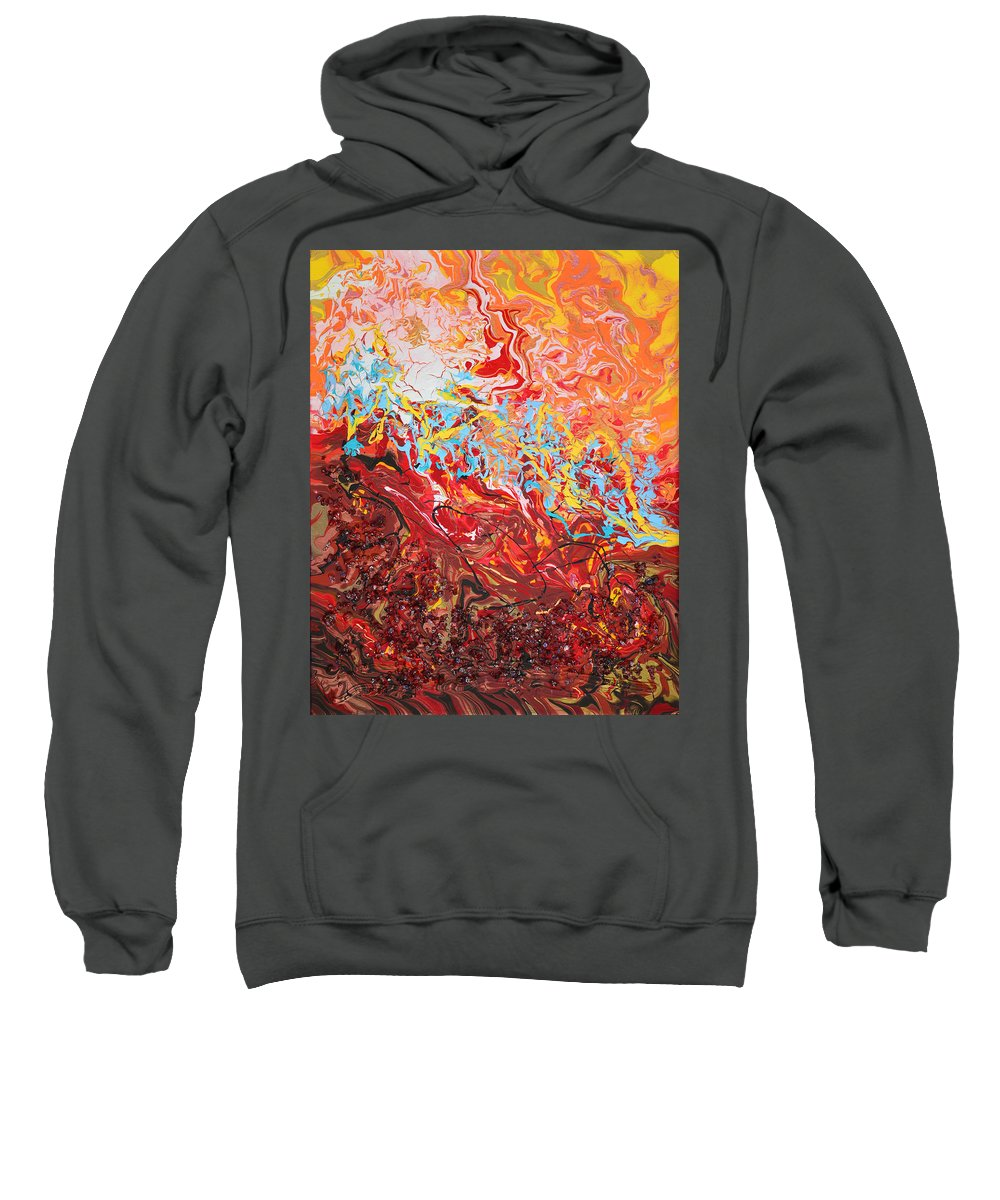 Bold Abstract Sweatshirt featuring the mixed media Cooling Lava by Donna Blackhall