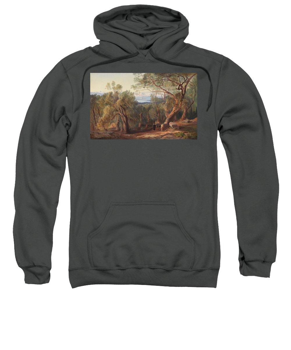 Edward Lear Sweatshirt featuring the painting Corfu From Santa Decca by Edward Lear