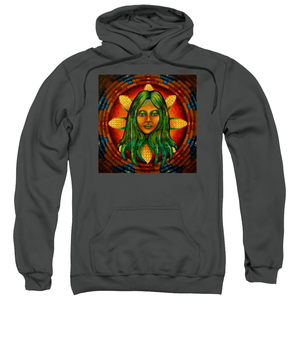 Native American Sweatshirt featuring the painting Corn Maiden by Kevin Chasing Wolf Hutchins