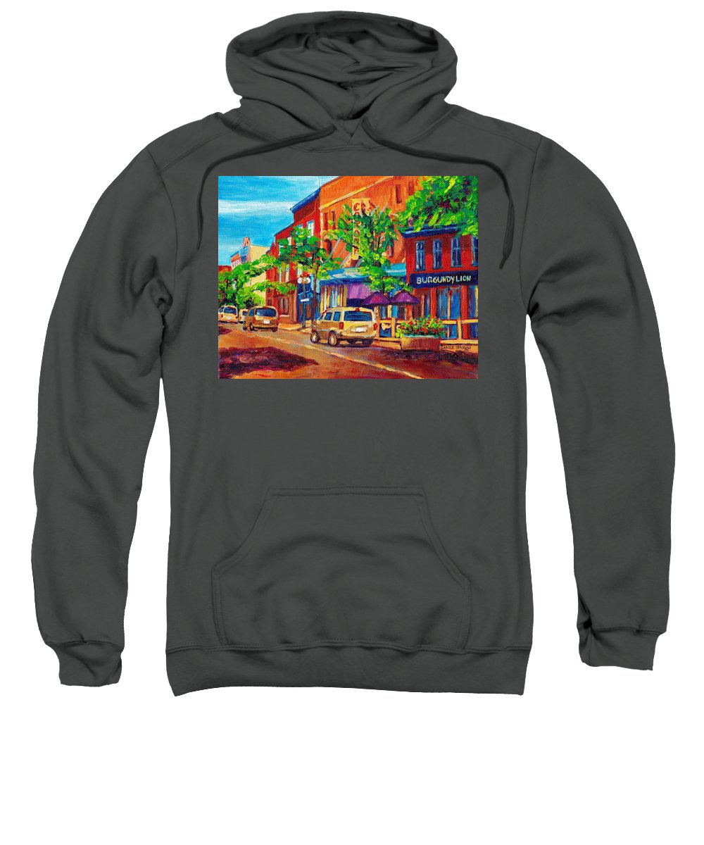 Montreal Sweatshirt featuring the painting Corona Theatre Presents The Burgundy Lion Rue Notre Dame Montreal Street Scene By Carole Spandau by Carole Spandau