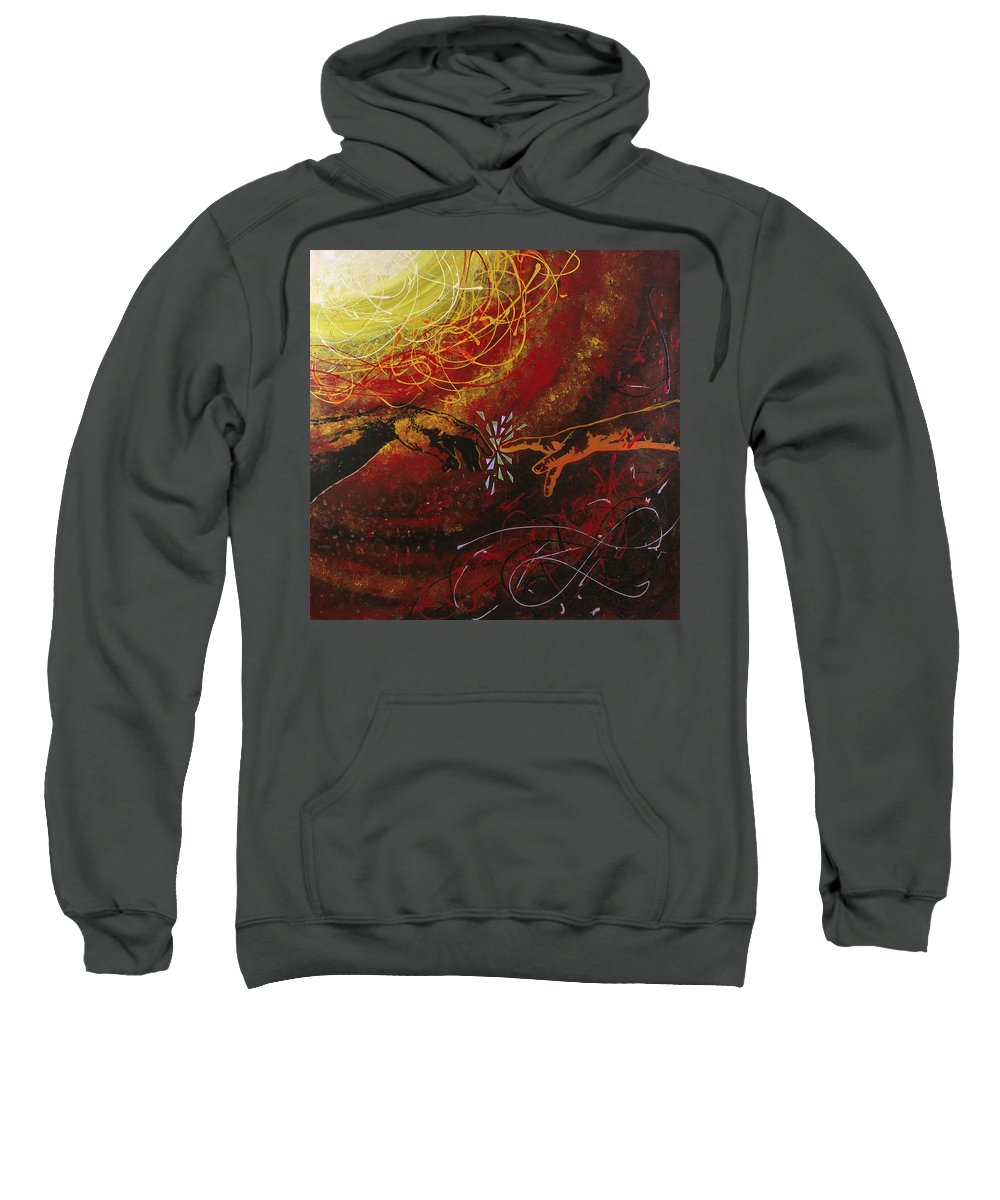 Hanzer Abstract Art Sweatshirt featuring the painting Cosmic Contact by Jack Hanzer Susco