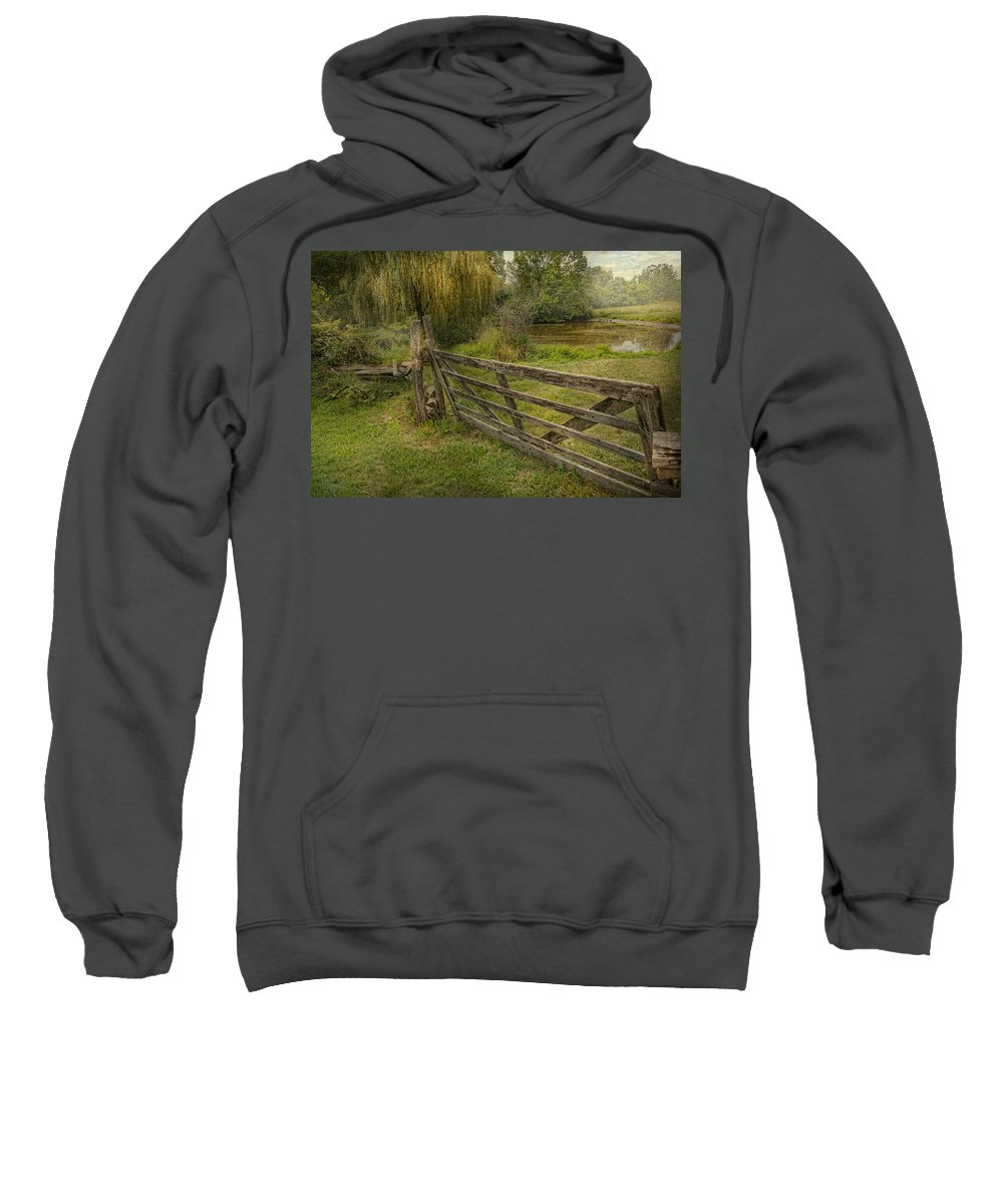 Savad Sweatshirt featuring the photograph Country - Gate - Rural Simplicity by Mike Savad
