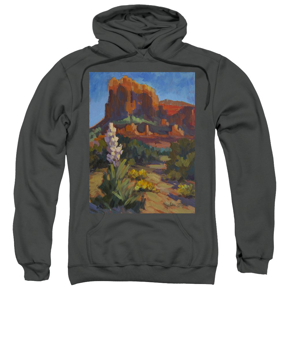 Courthouse Sweatshirt featuring the painting Courthouse Rock Sedona by Diane McClary