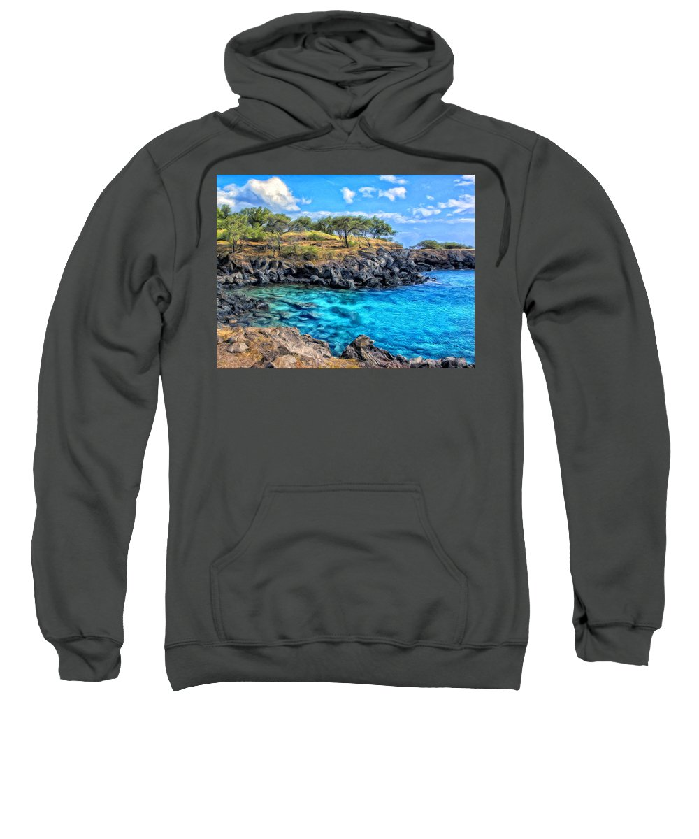 Cove Sweatshirt featuring the painting Cove At Mahukona by Dominic Piperata