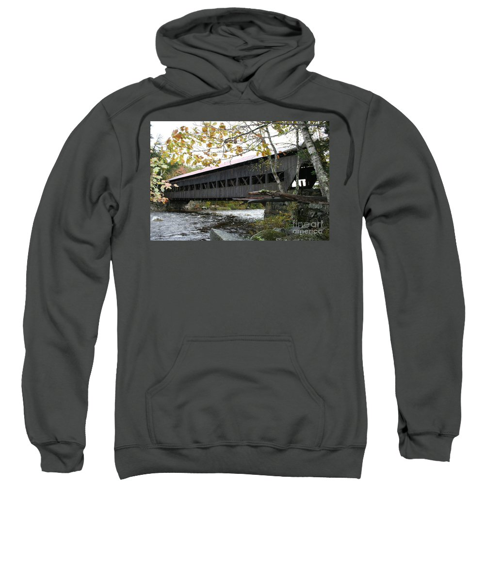 Covered Bridge Sweatshirt featuring the photograph Covered Bridge Albany by Christiane Schulze Art And Photography