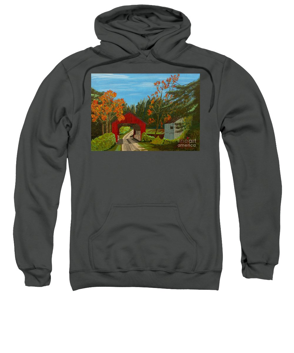 Path Sweatshirt featuring the painting Covered Bridge by Anthony Dunphy