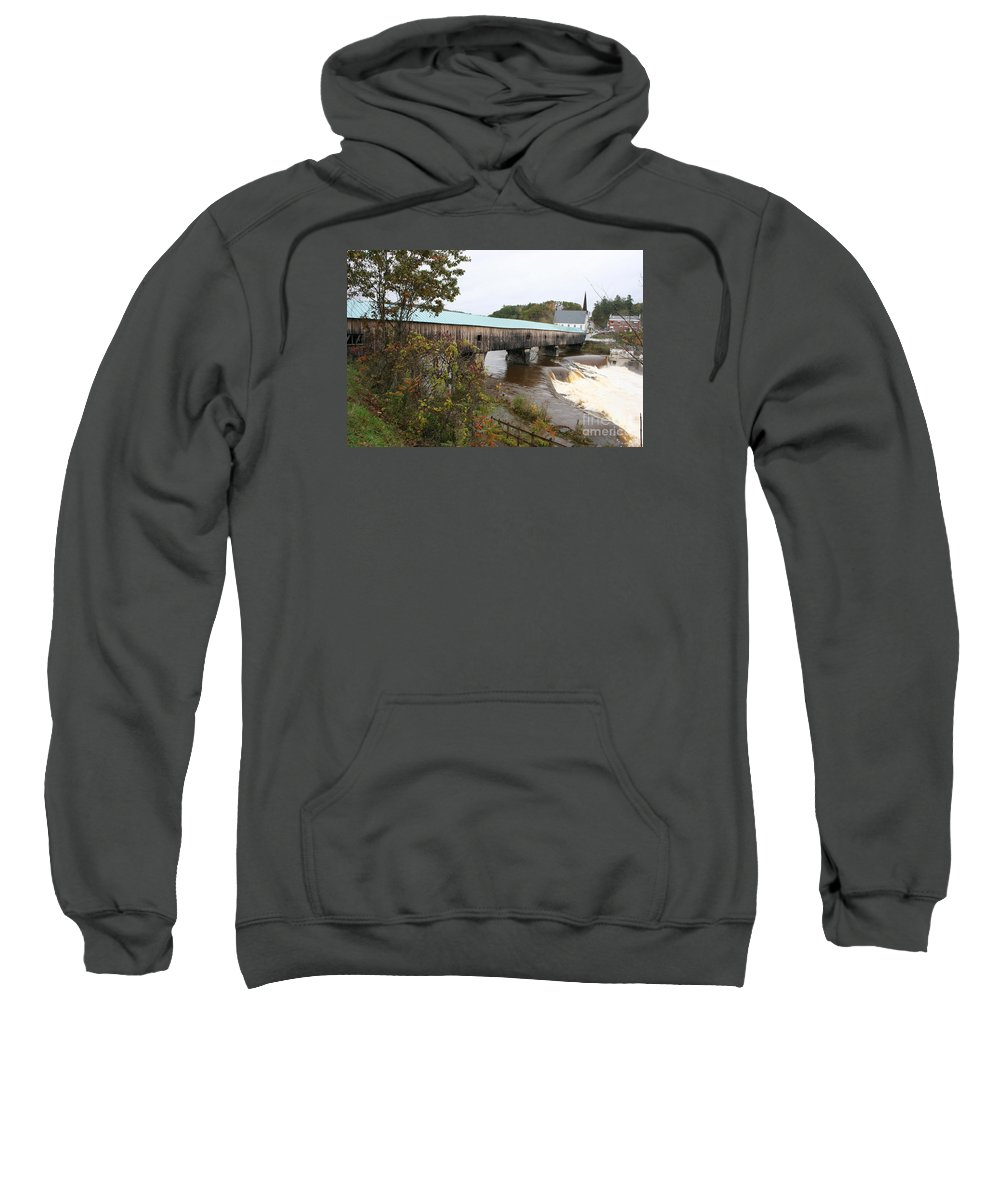 Covered Bridge Sweatshirt featuring the photograph Covered Bridge Bath by Christiane Schulze Art And Photography