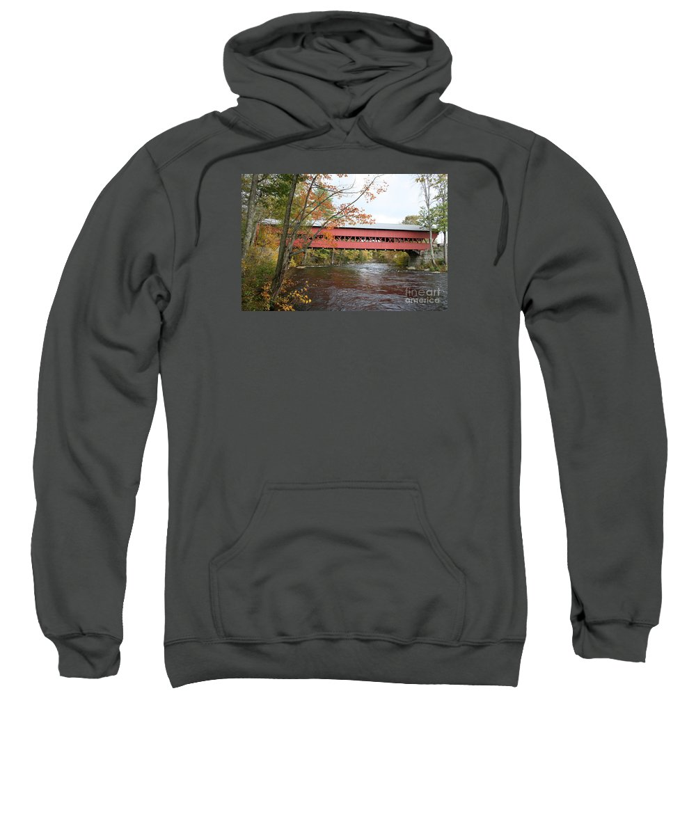 Covered Bridge Sweatshirt featuring the photograph Covered Bridge Over Swift River by Christiane Schulze Art And Photography