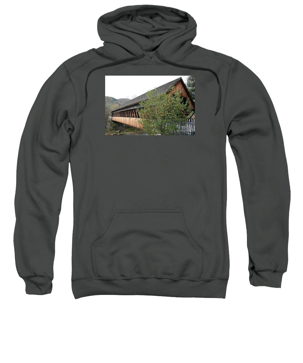 Covered Bridge Sweatshirt featuring the photograph Covered Bridge - Woodstock - Vermont by Christiane Schulze Art And Photography